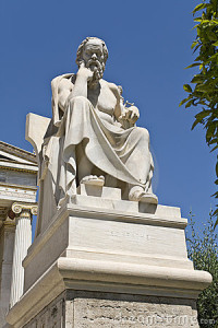 Statue in Athens of the great philosopher of Ethics Socrates
